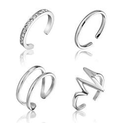 Sada minimalistických ocelových prstenů WS049S