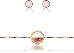 Sada oceľových šperkov WS035R (náušnice, náramok)