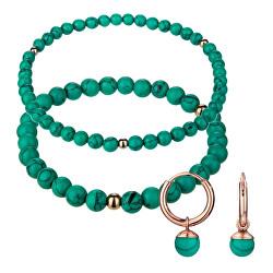 Zöld gyöngy karkötő és fülbevaló készlet WS061R