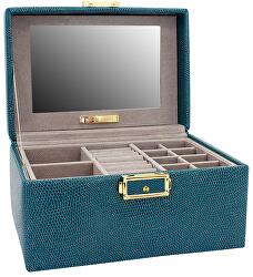 Moderní tyrkysová kožená šperkovnice Milano 95911-70