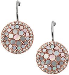 Bronzové náušnice s perleťou a kryštály JF01737791