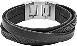 Černý kožený náramek JF02998040