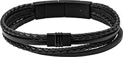 Černý kožený náramek JF03098001
