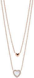 Dvojitý bronzový srdiečkový náhrdelník JF03459791