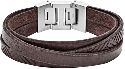 Hnědý kožený náramek JF02999040