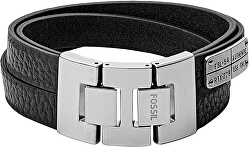 Černý kožený náramek JF03189040