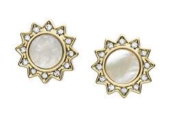 Nežné strieborné náušnice s kryštálmi a perleťou JF03423710