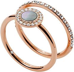 Aranyozott kettős gyűrű kristályokkal és gyöngyházzal JF02954791