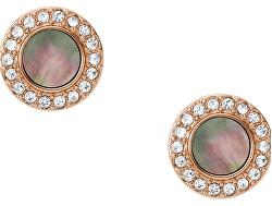 Trblietavé bronzové náušnice s kryštálmi a perleťou JF02949791