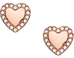 Trblietavé ružovo pozlátené oceľové náušnice srdce JF03364791
