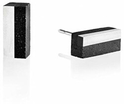 Náušnice z betonu a oceli Block Steel GJEWSSA004UN