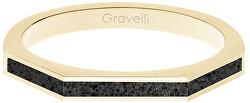 Ocelový prsten s betonem Three Side zlatá/antracitová GJRWYGA123