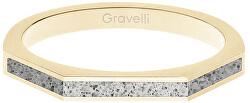 Ocelový prsten s betonem Three Side zlatá/šedá GJRWYGG123
