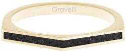 Ocelový prsten s betonem Two Side zlatá/antracitová GJRWYGA122