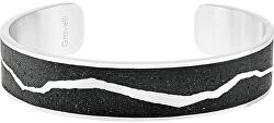 Pevný oceľový náramok s betónom Split oceľová / atracitová GJBWSSA102UN
