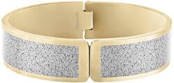 Pevný otvárací náramok z ocele s betónom Fusion hinged zlatá / šedá GJBWYGG111UN