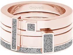 Sada čtyř prstenů s betonem Quadrium bronzová/šedá GJRWRGG124