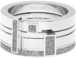 Sada čtyř prstenů s betonem Quadrium ocelová/šedá GJRWSSG124