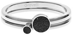 Sada ocelových prstenů s betonem ocelová/černá Double Dot GJRWSSA108