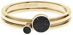 Sada ocelových prstenů s betonem Double Dot zlatá/černá GJRWYGA108