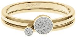 Sada ocelových prstenů s betonem Double Dot zlatá/šedá GJRWYGG108