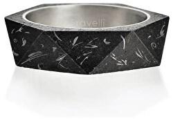 Stylový betonový prsten Cubist Fragments Edition ocelová/antracitová GJRUFSA005