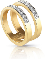Dvojitý pozlátený prsteň s kryštálmi UBR78007