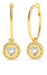 Elegantní pozlacené náušnice 2v1 From Guess With Love UBE70034