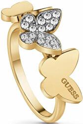 Elegáns aranyozott gyűrű pillangóval UBR78004