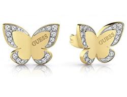 Luxusní bicolor náušnice s motýlem UBE78011