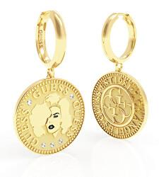 Luxusos aranyozott fülbevaló Guess Coin UBE79156