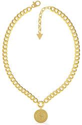 Módní pozlacený náhrdelník Guess Coin UBN79121