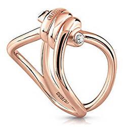 Módní růžově zlacený prsten s uzlem UBR29005