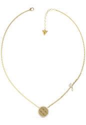 Nadčasový pozlacený náhrdelník s krystaly Round Harmony JUBN01155JWYG
