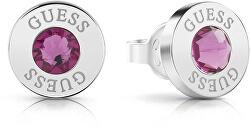 Náušnice pecky s fialovým krystalem UBE78100