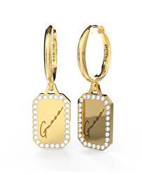 Aranyozott karika fülbevaló medálokkal  Crystal Tag JUBE01133JWYGT/U