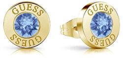 Pozlacené náušnice pecky s modrým krystalem UBE78101