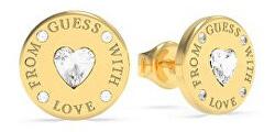 Pozlacené náušnice s krystaly Swarovski From Guess With Love UBE70037