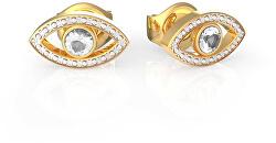Pozlacené náušnice s krystaly UBE29001