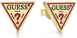 Pozlátené trojuholníkové náušnice s logom UBE29052