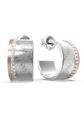 Půvabné ocelové bicolor náušnice s krystaly Round Harmony JUBE01160JWRHRG