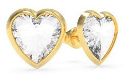 Srdíčkové pozlacené náušnice s krystalem Swarovski UBE70040