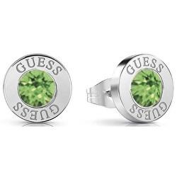 Stylové náušnice pecky se zelenými krystaly UBE78106
