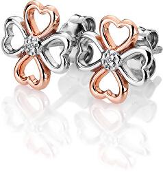 Bicolor stříbrné čtyřlístkové náušnice s diamanty Lucky in Love DE633