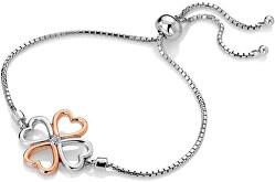 Bicolor stříbrný čtyřlístkový náramek s diamantem Lucky in Love DL604