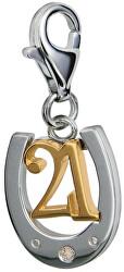 Prívesok 21 s podkovou a diamantom Love Luck Happiness DT045
