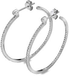 Cercei din argint cu diamante Hoops Topaz DE624