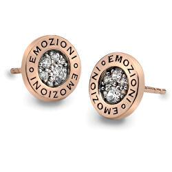 Stříbrné náušnice Hot Diamonds Emozioni Pianeta Rose Gold DE403
