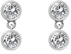 Stříbrné náušnice s topazy a pravým diamantem Willow DE586