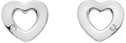 Stříbrné srdíčkové náušnice s pravými diamanty Amulets DE616